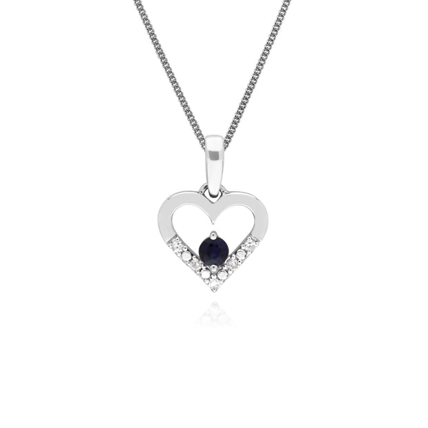 Classic Round Sapphire & Diamond Love Heart Shaped Pendant in 9ct White Gold