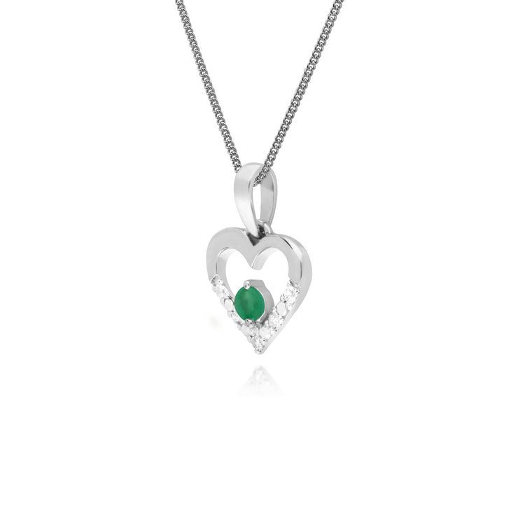 Classic Round Emerald & Diamond Love Heart Shaped Pendant in 9ct White Gold