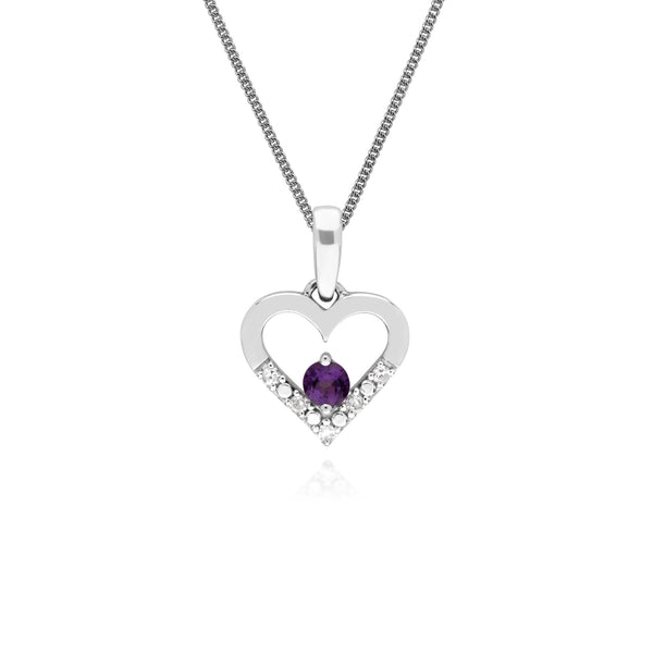 Classic Round Amethyst & Diamond Love Heart Shaped Pendant in 9ct White Gold