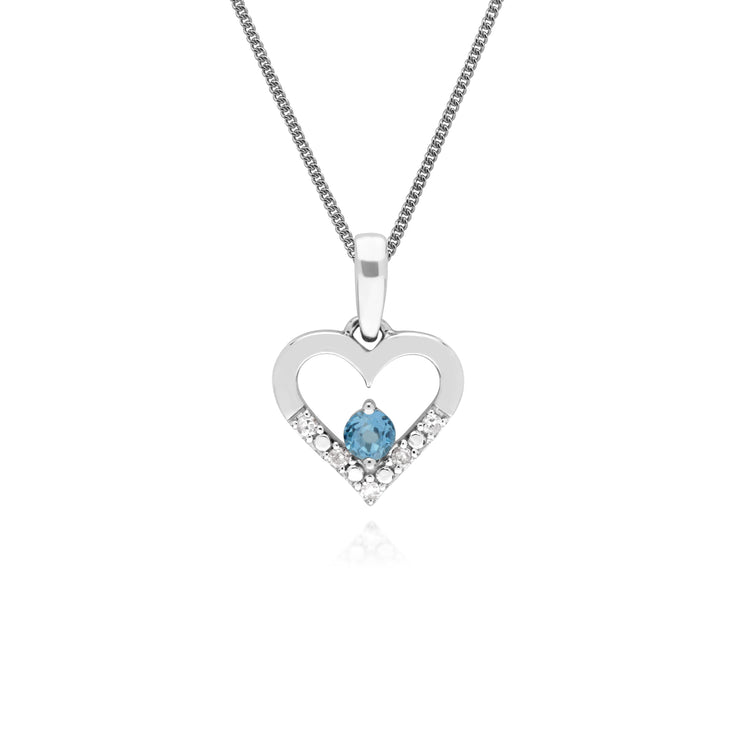 Classic Round Blue Topaz & Diamond Love Heart Shaped Pendant in 9ct White Gold