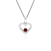 Gemondo 9ct White Gold Single Garnet & Diamond Heart Pendant on 45cm Chain