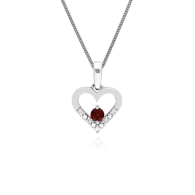 Classic Round Garnet & Diamond Love Heart Shaped Pendant in 9ct White Gold