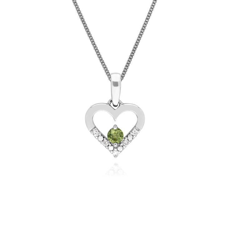 Classic Round Peridot & Diamond Love Heart Shaped Pendant in 9ct White Gold