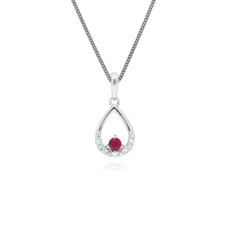 Classic Round Ruby & Diamond Pear Shaped Pendant in 9ct White Gold