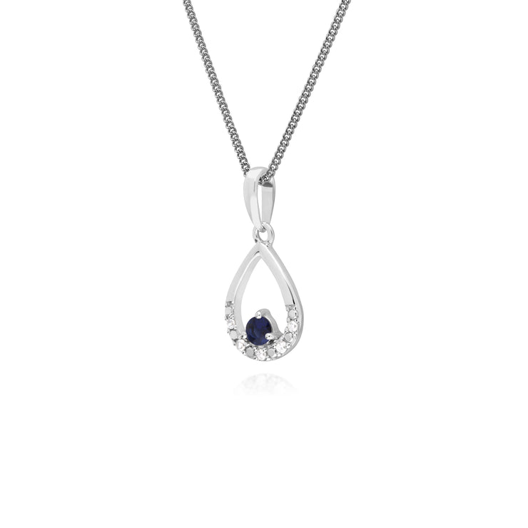 Classic Round Sapphire & Diamond Pear Shaped Pendant in 9ct White Gold