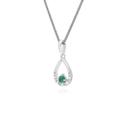 Classic Round Emerald & Diamond Pear Shaped Pendant in 9ct White Gold