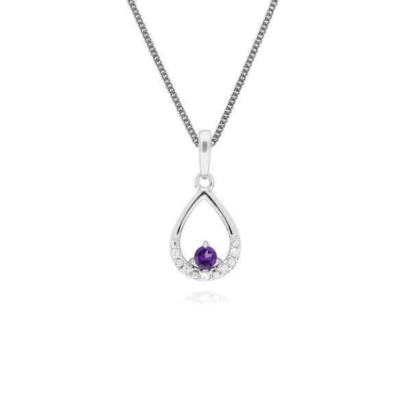 Classic Round Amethyst & Diamond Pear Shaped Pendant in 9ct White Gold
