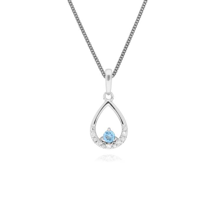 Classic Round Blue Topaz & Diamond Pear Shaped Pendant in 9ct White Gold