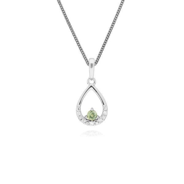 Classic Round Peridot & Diamond Pear Shaped Pendant in 9ct White Gold