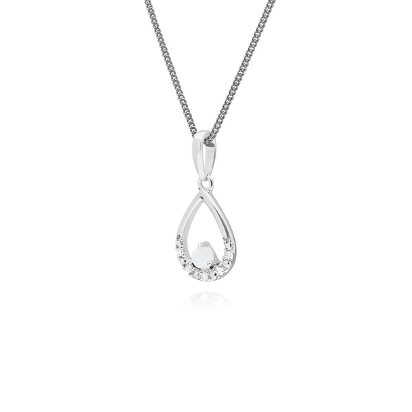 Classic Round Opal & Diamond Pear Shaped Pendant in 9ct White Gold