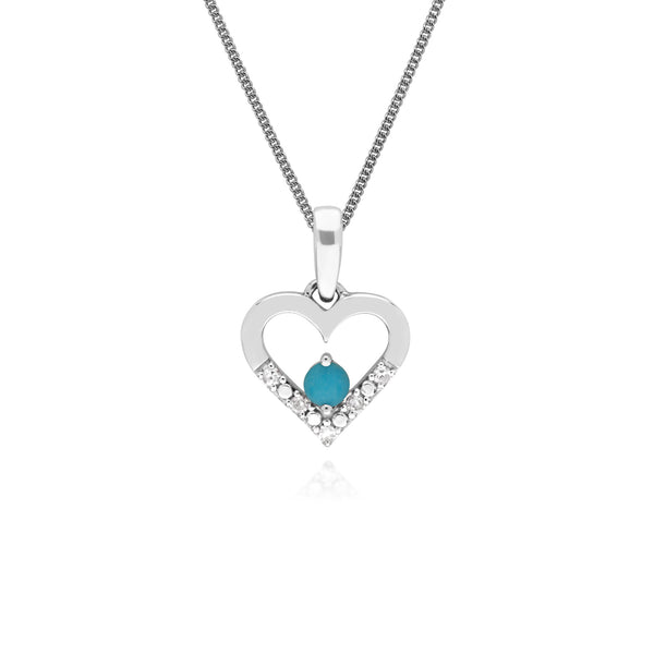 Classic Round Turquoise & Diamond Love Heart Shaped Pendant in 9ct White Gold