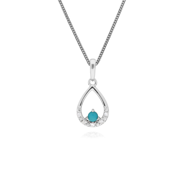 Classic Round Turquoise & Diamond Pear Shaped Pendant in 9ct White Gold
