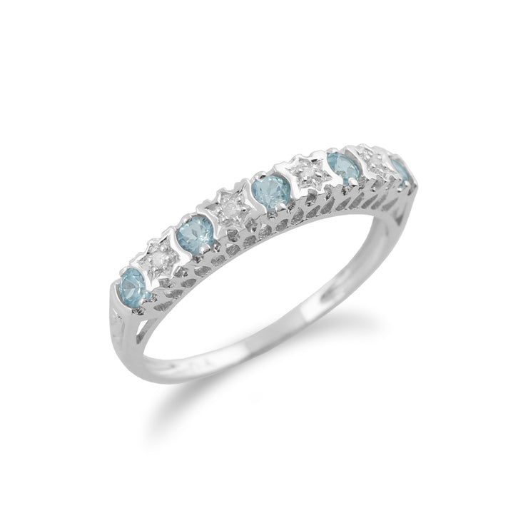 Classic Round Blue Topaz & Diamond Half Eternity Ring in 9ct White Gold