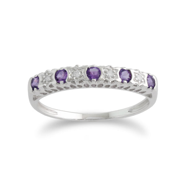 Classic Round Amethyst & Diamond Half Eternity Ring in 9ct White Gold