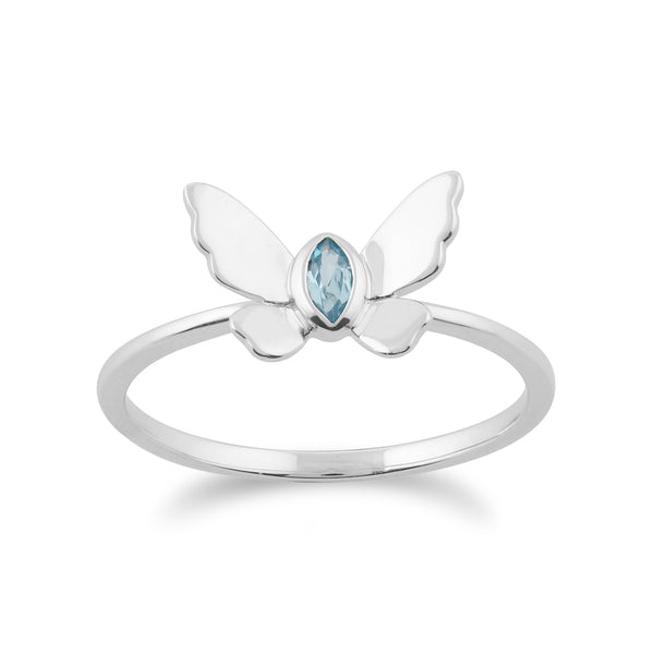 Gemondo 9ct White Gold 0.08ct Blue Topaz Butterfly Ring Image 1