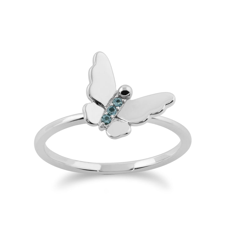 Floral Blue Topaz & Diamond Butterfly & Flowers Three Stack Ring Set Image 6