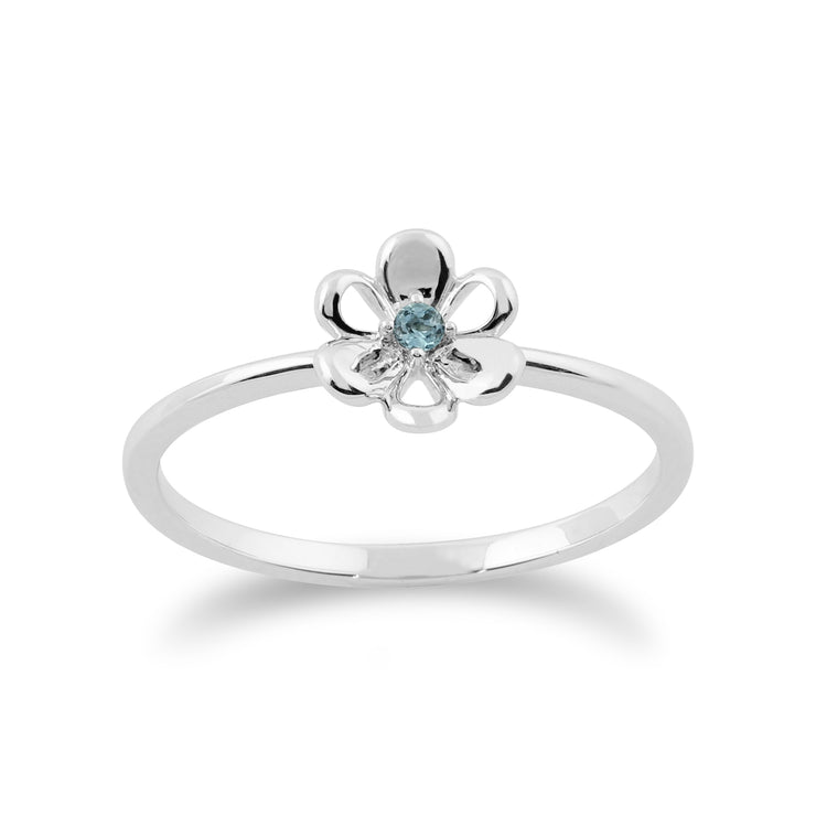 Floral Blue Topaz & Diamond Butterfly & Flowers Three Stack Ring Set Image 4