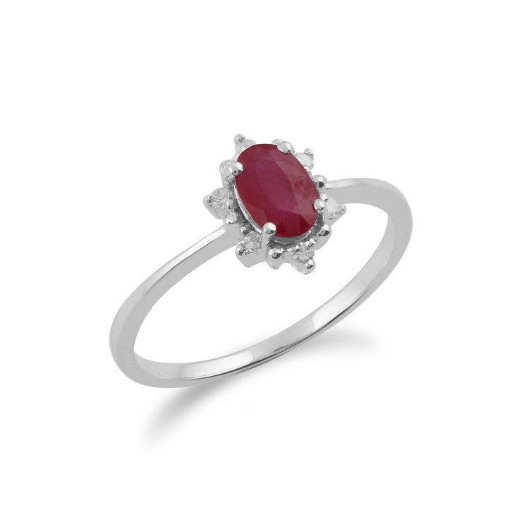Gemondo 9ct White Gold 0.63ct Ruby & Diamond Oval Cluster Ring Image 2