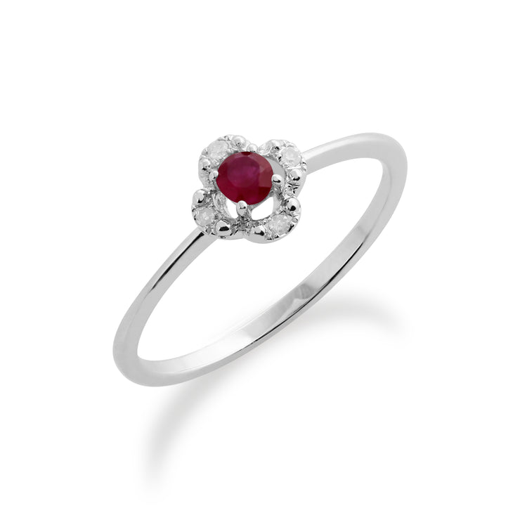Gemondo 9ct White Gold 0.15ct Ruby & Diamond Floral Ring Image 1