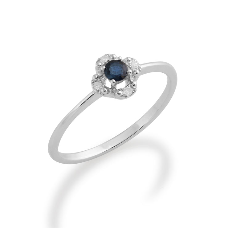Gemondo 9ct White Gold 0.14ct Sapphire & Diamond Floral Ring Image