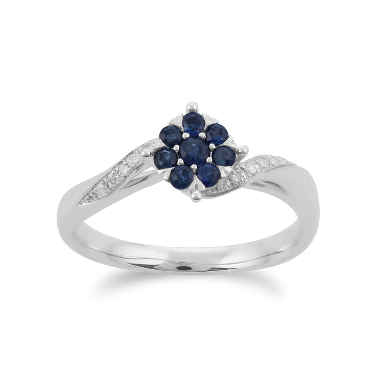 Gemondo 9ct White Gold 0.27ct Sapphire & Diamond Floral Ring Image 1