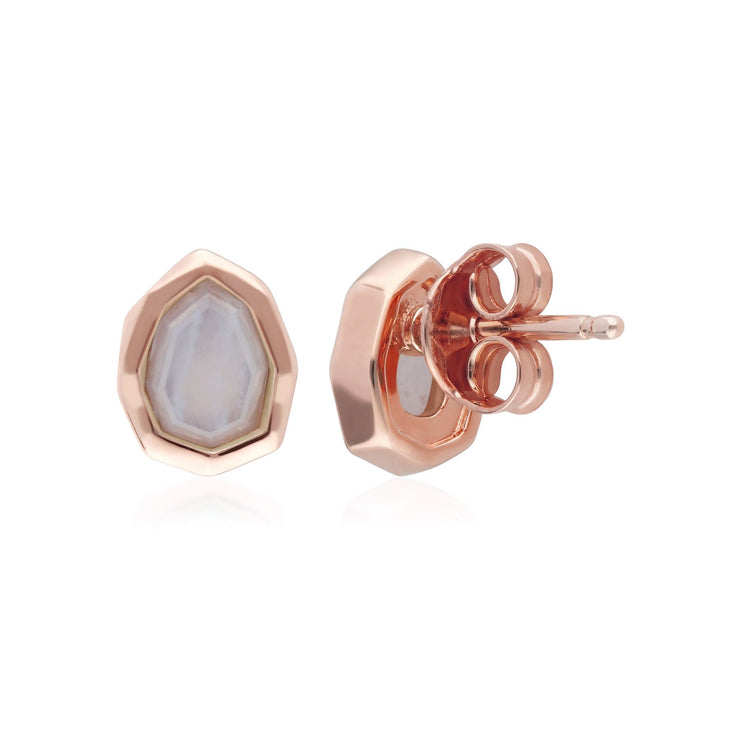 Irregular B Gem Blue Lace Agate Stud Earrings in Rose Gold Sterling Silver Back