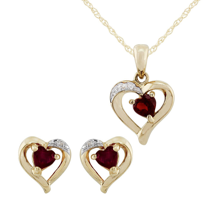 Classic Heart Garnet & Diamond Stud Earrings & Pendant Set Image 1