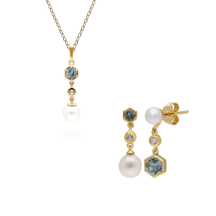 Modern Pearl, Topaz & Aquamarine Earring & Pendant Set in Gold Plated Sterling Silver