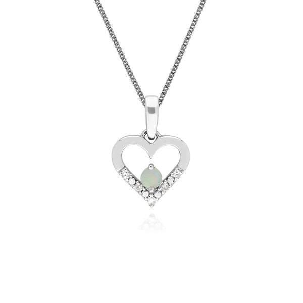 Classic Round Opal & Diamond Love Heart Shaped Pendant in 9ct White Gold