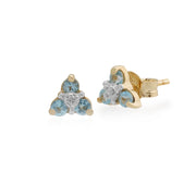 Classic Round Blue Topaz & Diamond Cluster Stud Earrings in 9ct Yellow Gold