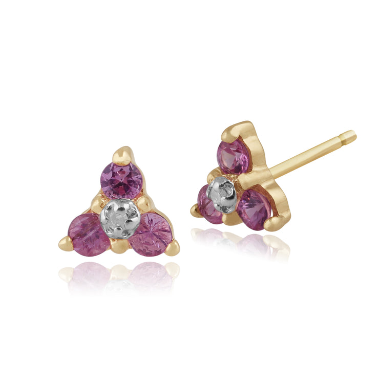 Floral Pink Sapphire & Diamond Stud Earrings & Pendant Set Image 2