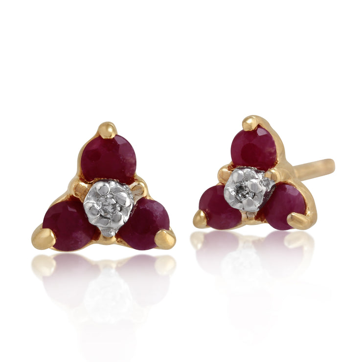 Floral Round Ruby & Diamond Cluster Stud Earrings in 9ct Yellow Gold