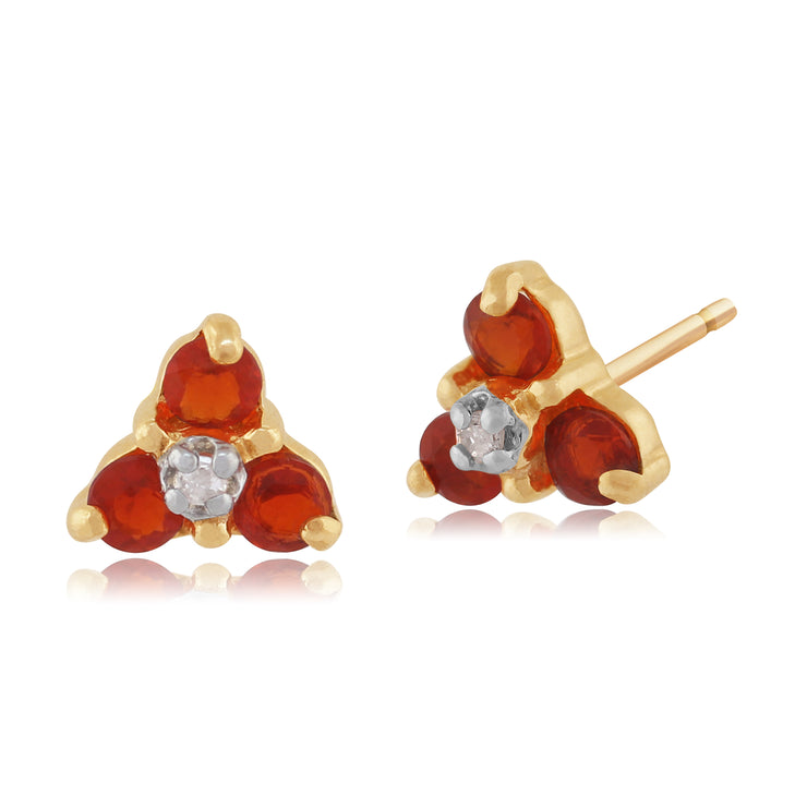 Classic Round Fire Opal & Diamond Cluster Stud Earrings in 9ct Yellow Gold