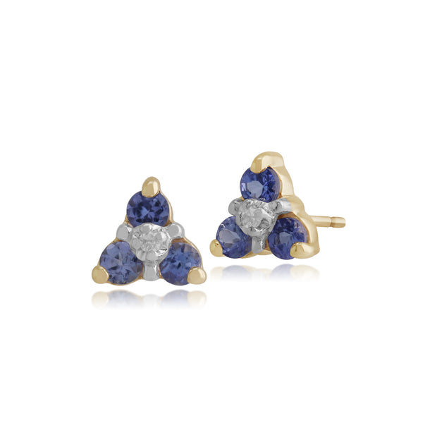 Floral Round Tanzanite & Diamond Stud Earrings in 9ct Yellow Gold