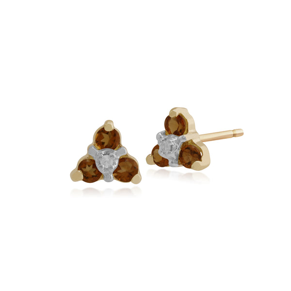Floral Round Citrine & Diamond Stud Earrings in 9ct Yellow Gold