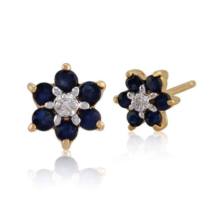 10ct Yellow Gold Sapphire & Diamond Flower Cluster Stud Earrings