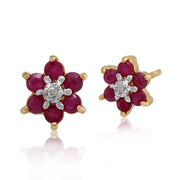 10ct Yellow Gold Ruby & Diamond Floral Cluster Stud Earrings