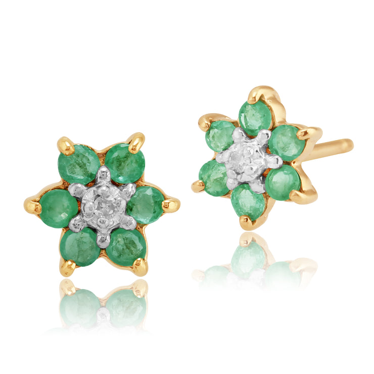10ct Yellow Gold Emerald & Diamond Classic Cluster Stud Earrings