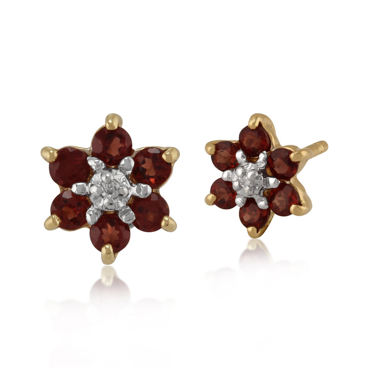 Floral Oval Garnet & Diamond Cluster Stud Earrings in 9ct Yellow Gold