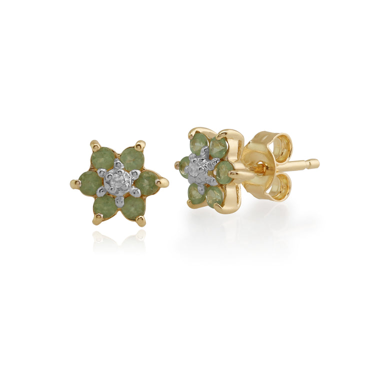 Floral Round Peridot & Diamond Cluster Stud Earrings in 9ct Yellow Gold