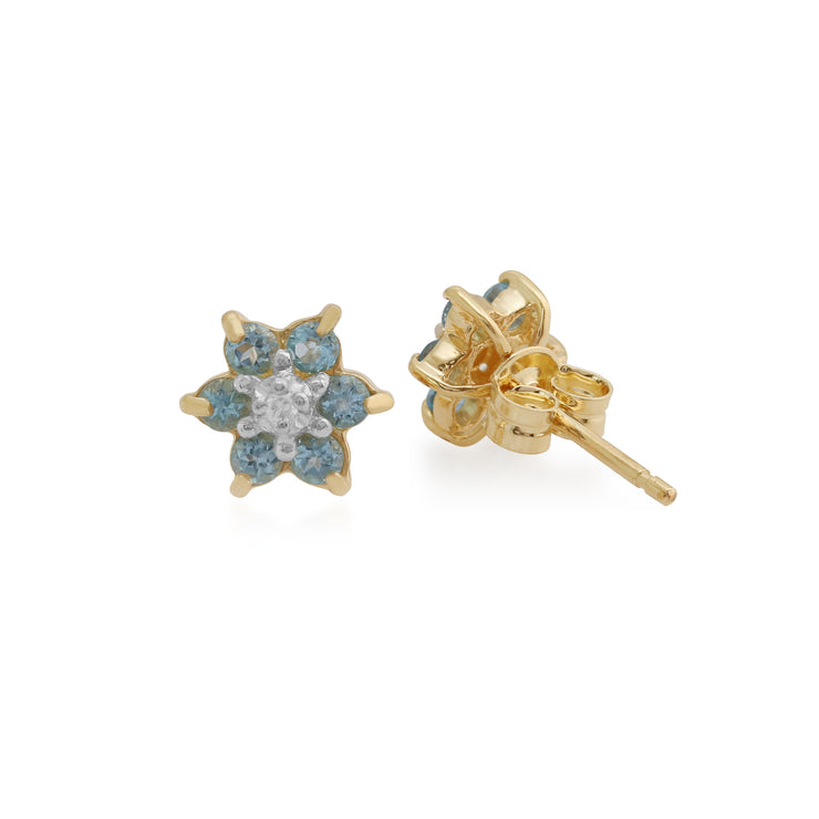 Floral Round Blue Topaz & Diamond Cluster Stud Earrings in 9ct Yellow Gold