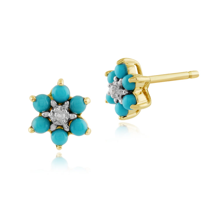 Floral Round Turquoise & Diamond Stud Earrings in 9ct Yellow Gold