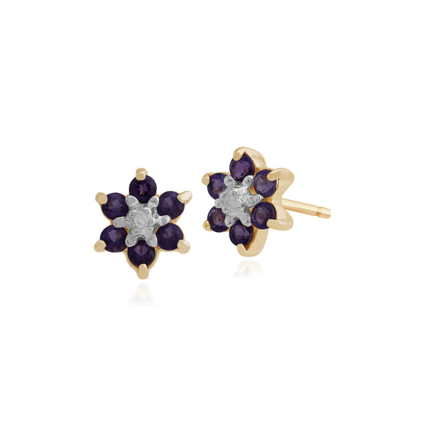 Floral Round Amethyst & Diamond Cluster Stud Earrings in 9ct Yellow Gold