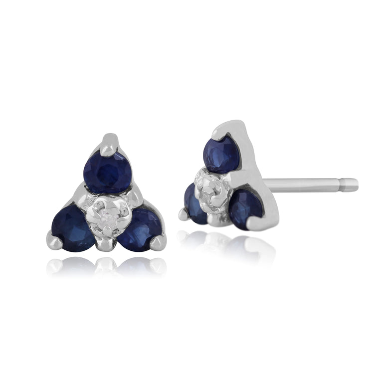 Classic Round Sapphire & Diamond Cluster Stud Earrings in 9ct White Gold