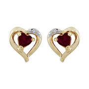 Classic Heart Garnet & Diamond Stud Earrings in 9ct Yellow Gold