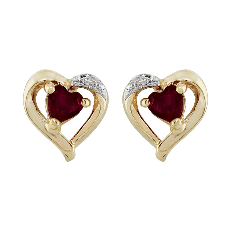 Classic Heart Garnet & Diamond Stud Earrings & Pendant Set Image 2