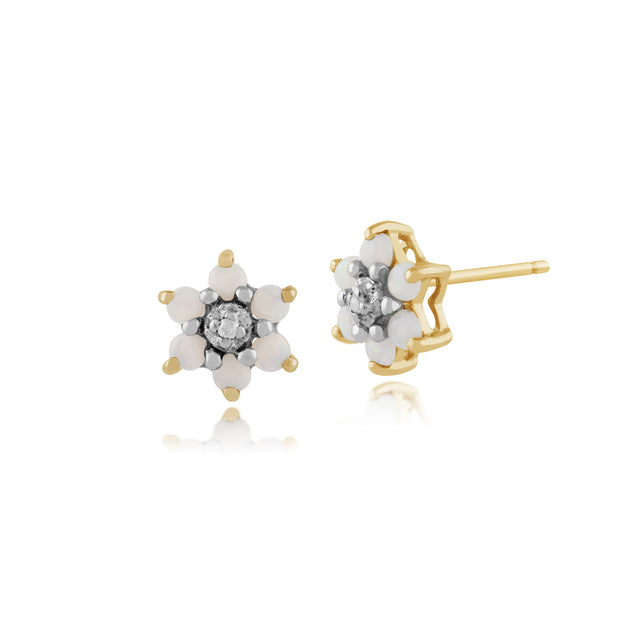 Floral Round Opal & Diamond Stud Earrings in 9ct Yellow Gold