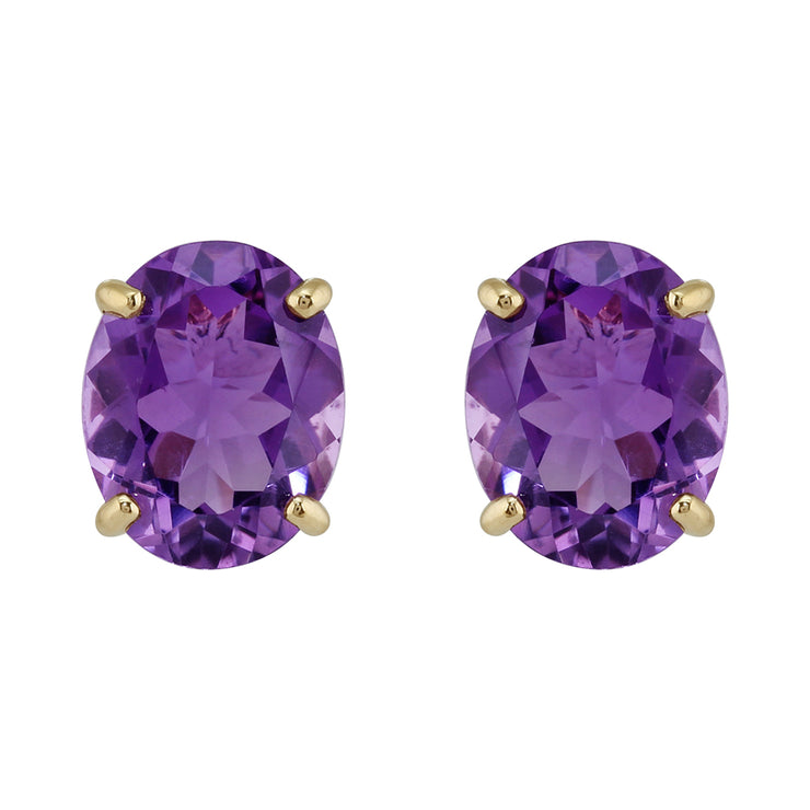 Classic Oval Amethyst Stud Earrings in 9ct Yellow Gold 10x8mm