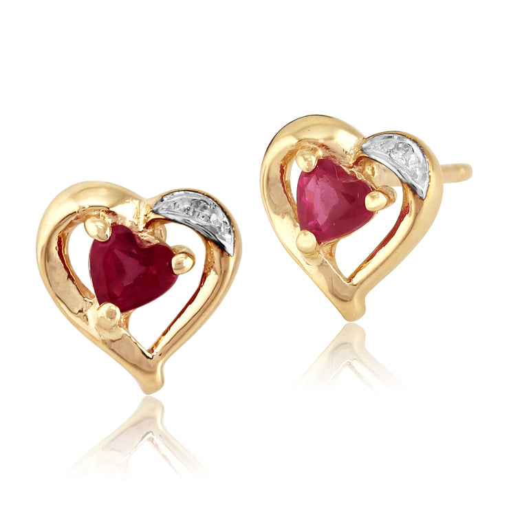 10ct Yellow Gold Natural Ruby & Diamond Heart Stud Earrings