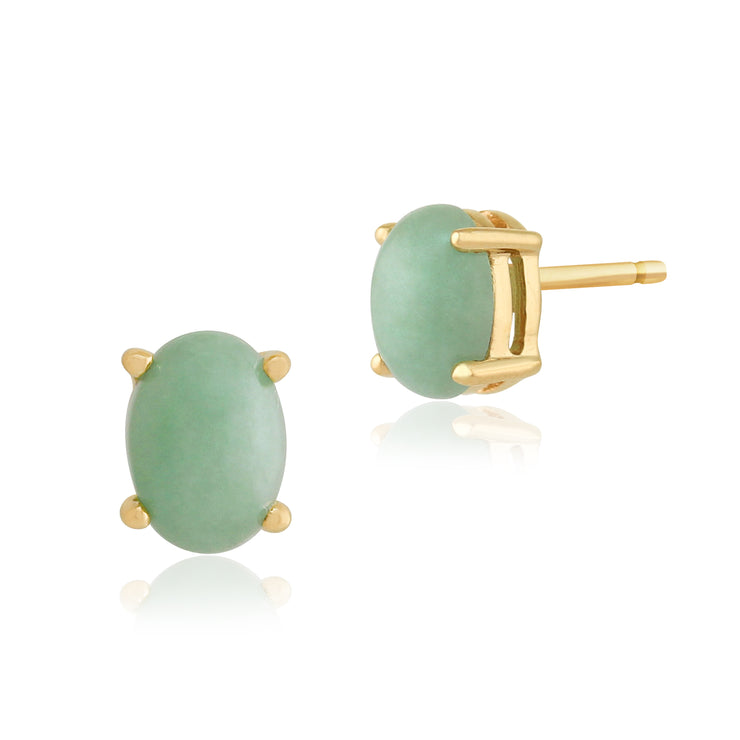 10ct Yellow Gold Jade Oval Stud Earrings